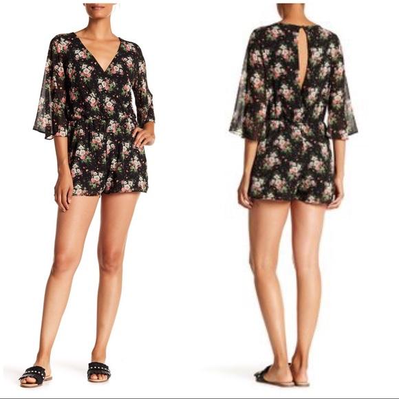 8bd9217d48fd NWT Everly Black Floral Romper Shorts XL